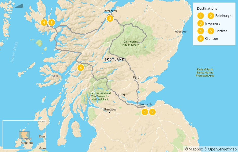 Map of Best of Scotland: Edinburgh & the Highlands - 7 Days