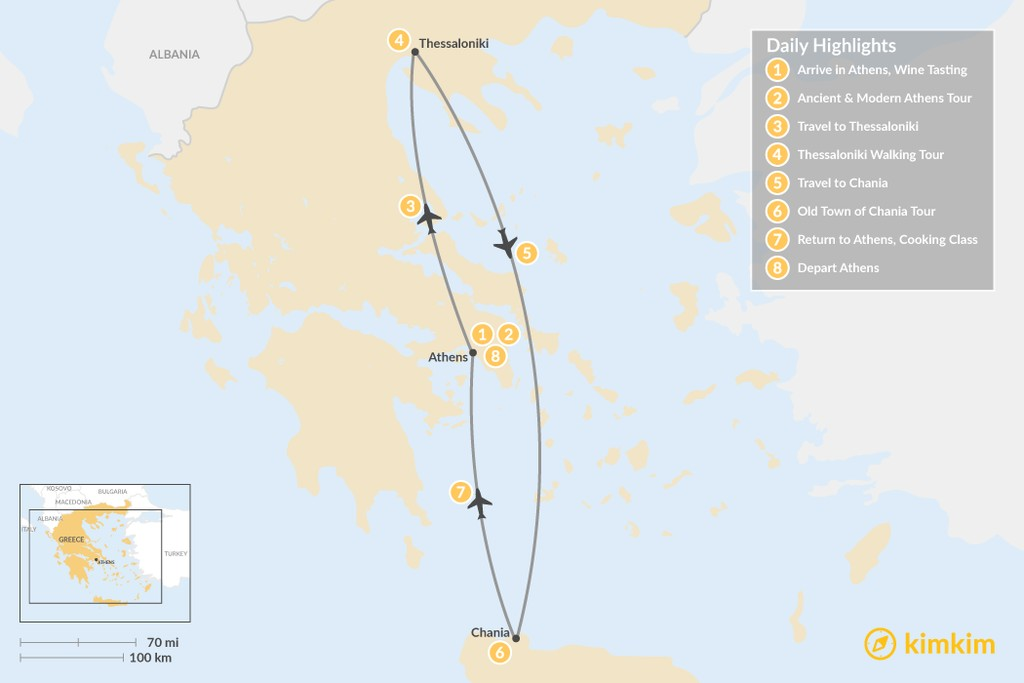 Map of Discover Athens, Thessaloniki & Crete - 8 Days