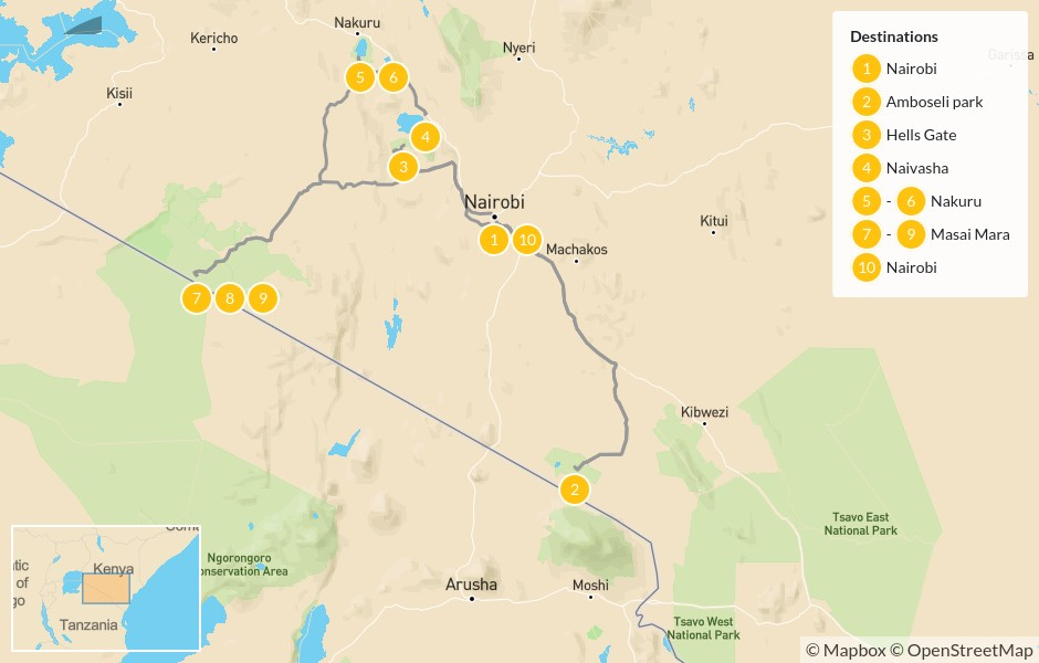 Map of Kenya Wildlife Safari - 10 Days