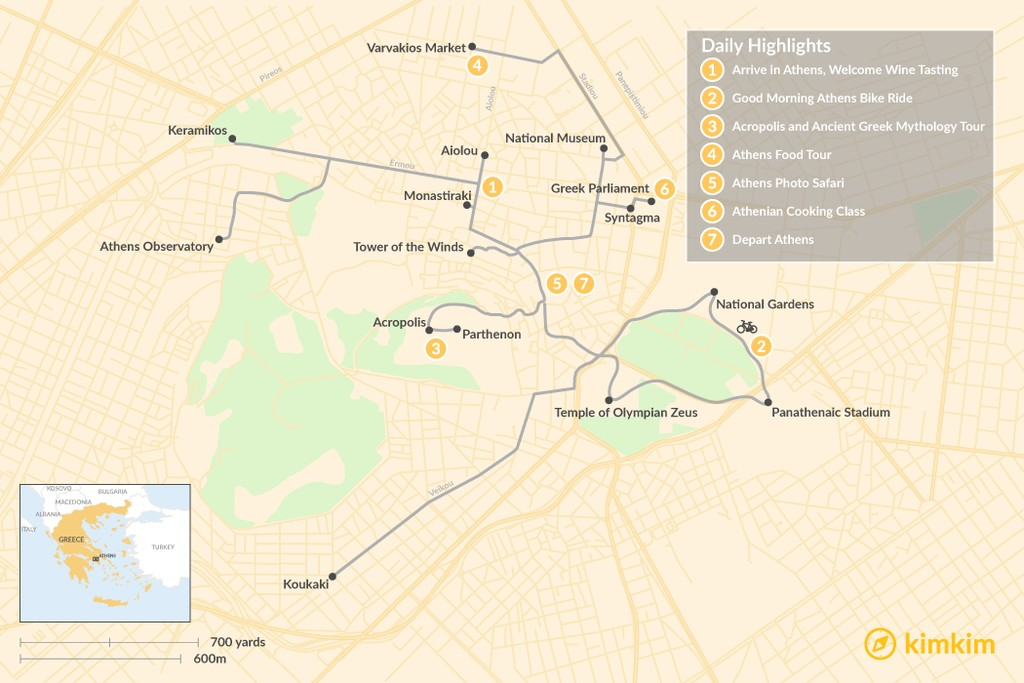 Map of Athens City Break - 7 Days
