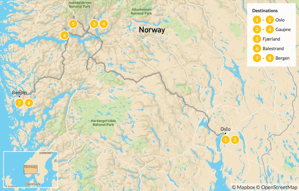 Map of Norway's Sognefjord Road Trip - 9 Days
