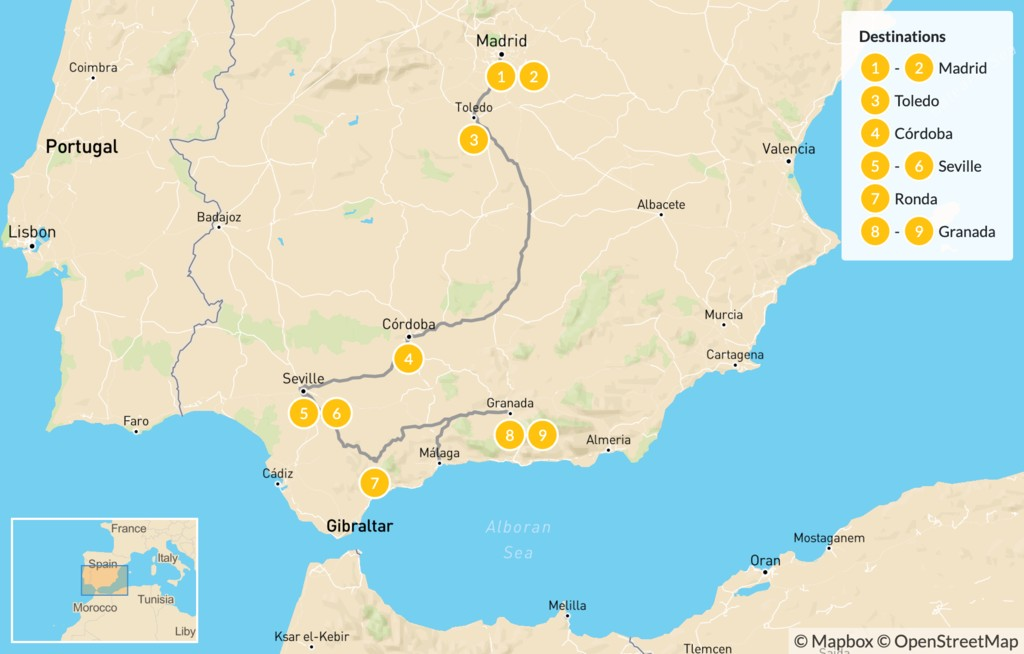 Map of Ultimate Southern Spain Road Trip: Madrid to Andalusia - 10 days