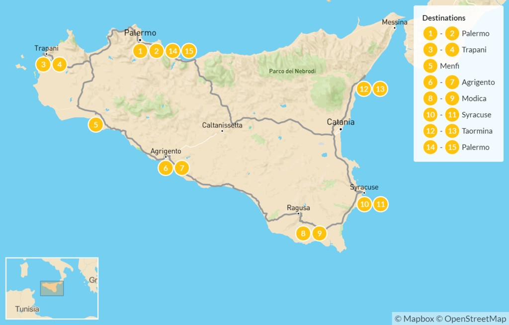 Map of Sicily Highlights Self-Drive Tour - 16 Days