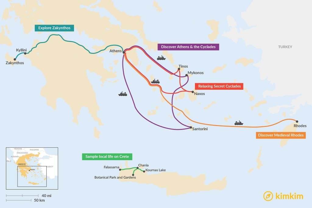 Map of 7 Days in the Greek Islands - 5 Unique Itinerary Ideas