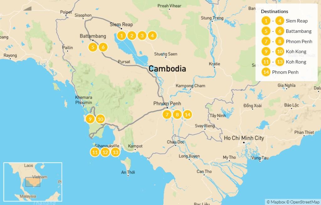 Map of Highlights of Cambodia: Siem Reap, Angkor, Phnom Penh, Koh Rong, & More - 15 Days