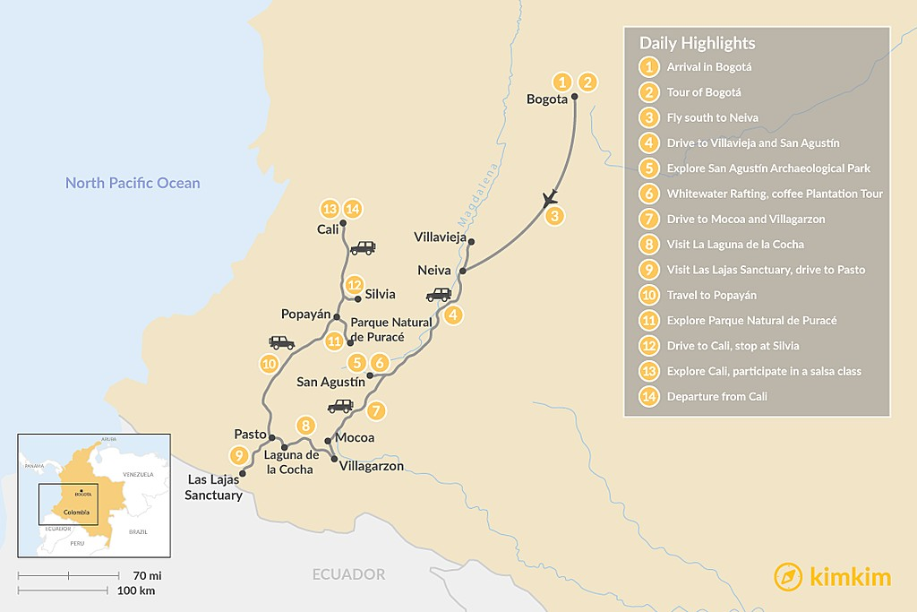 Map of Off the Beaten Path in Southern Colombia - 14 Days