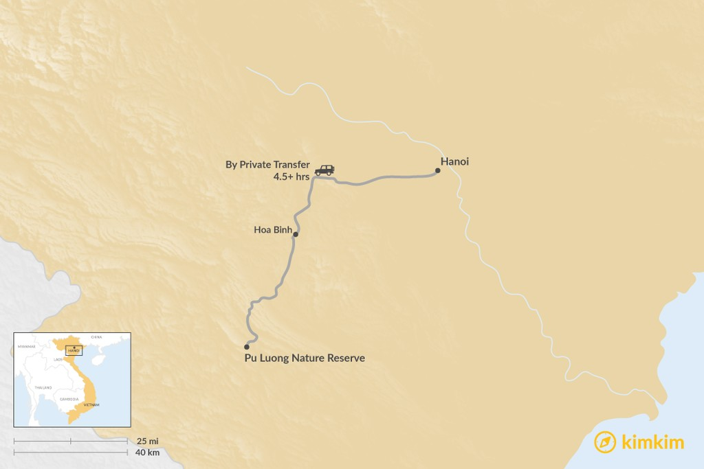 Map of How to Get from Hanoi to Pu Luong Nature Reserve