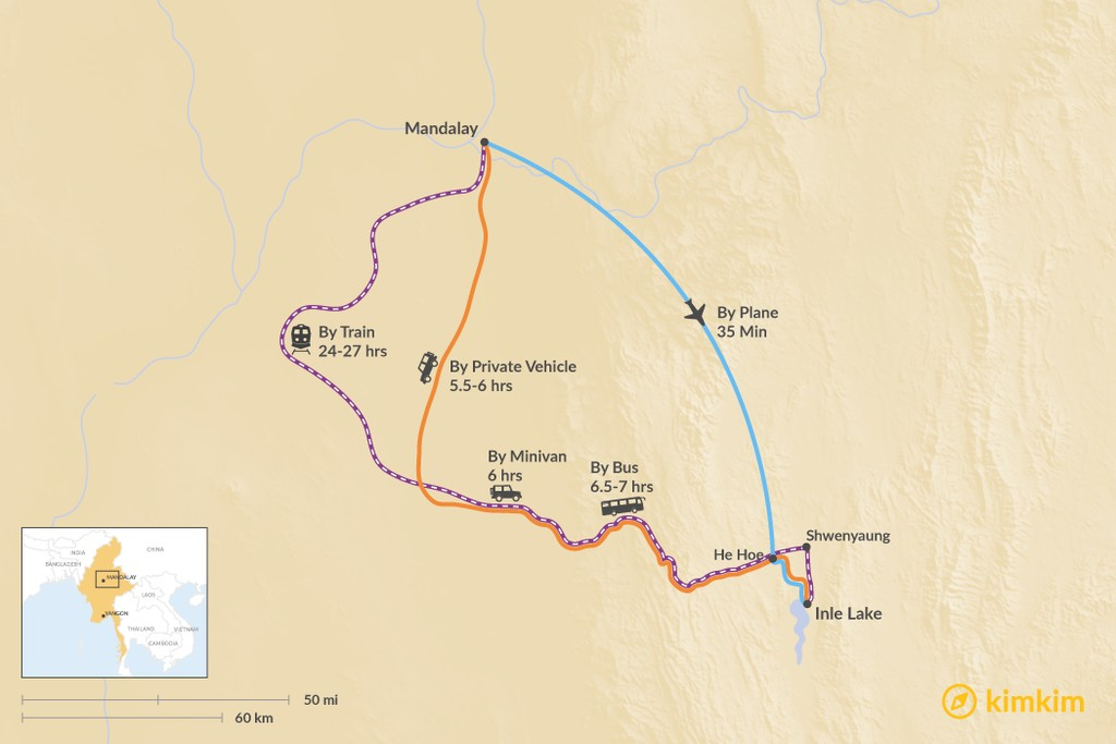 Map of How to Get from Mandalay to Inle Lake