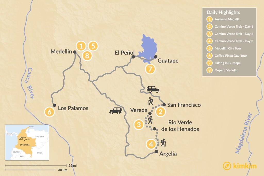 Map of Trekking Colombia's Camino Verde - 8 Days
