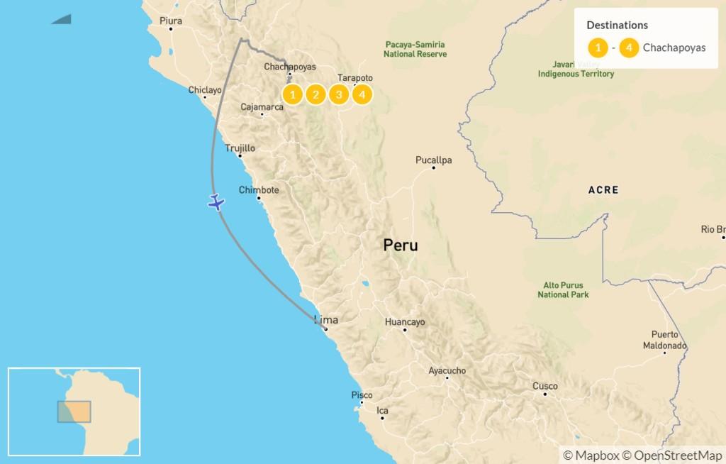 Map of Northern Peru: Kuélap Ruins, Gocta Waterfall, Museums, & Mausoleums - 5 Days