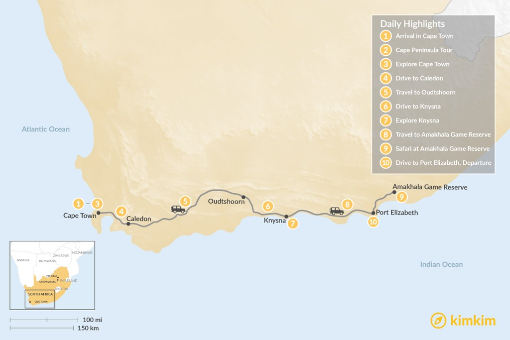 Map of Highlights of South Africa: Cape Town, Garden Route, & Safari - 10 Days