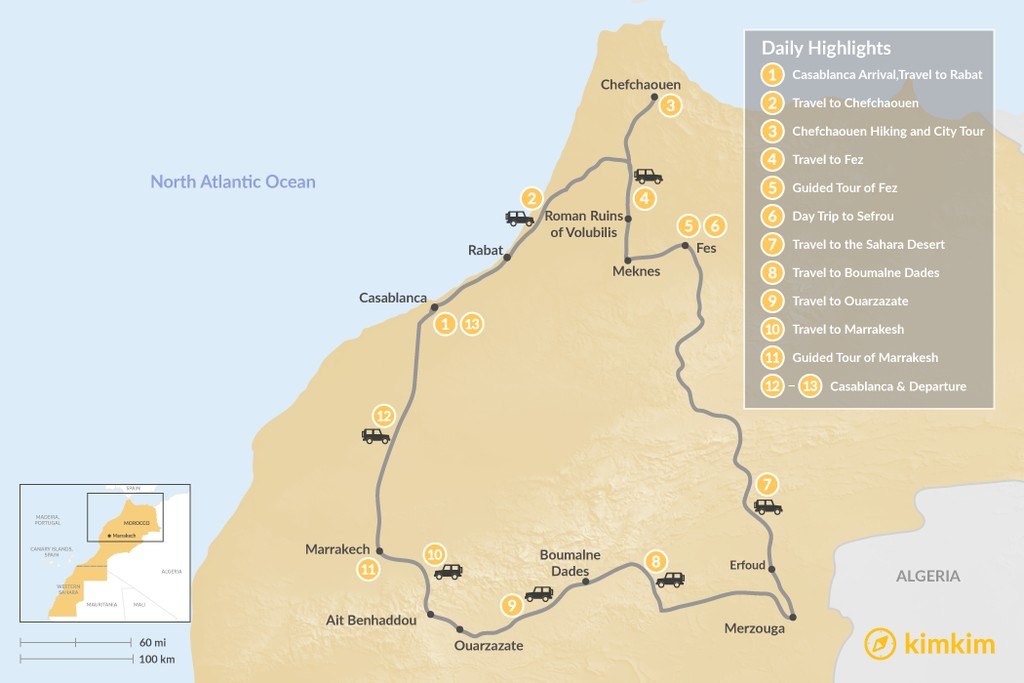 Map of Grand Morocco Tour: Casablanca, Chefchaouen, Fez, Marrakesh, & More - 13 Days