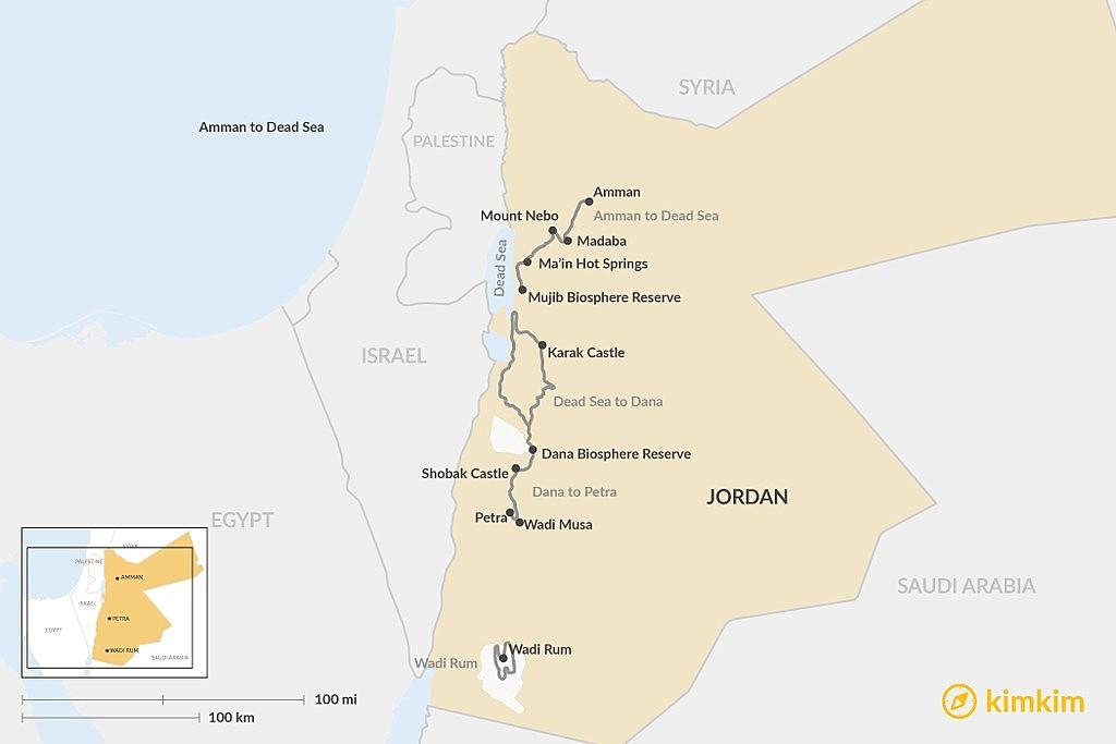Map of 4 Scenic Road Trip Routes in Jordan