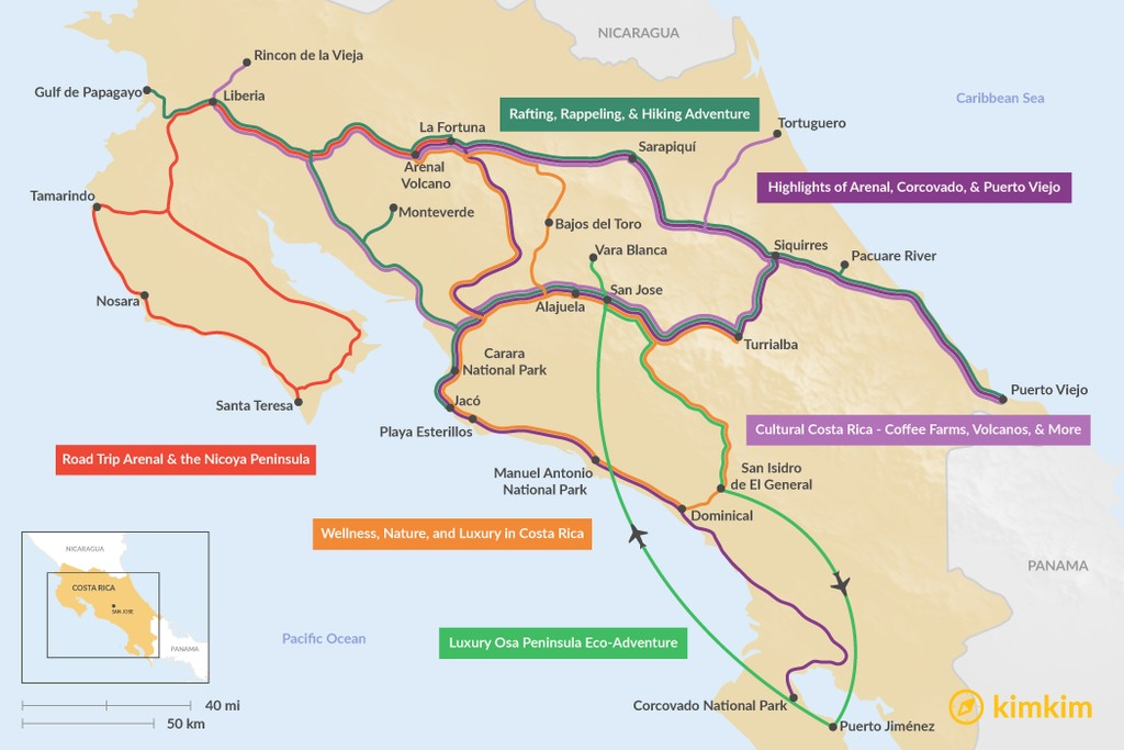 Map of 16 Days in Costa Rica - 6 Unique Itinerary Ideas