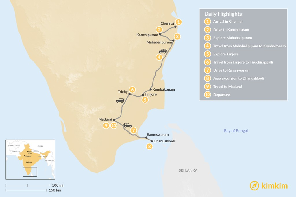 Map of Tamil Nadu Temple Tour - 10 Days
