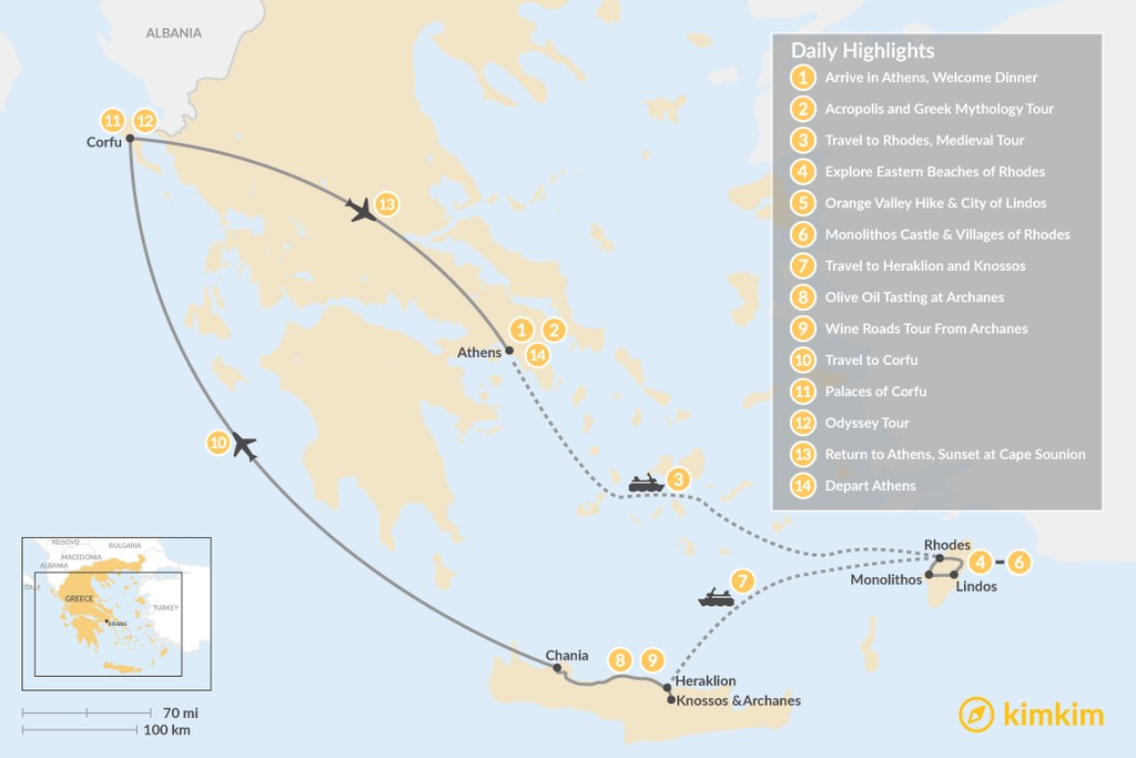 Map of Discover Rhodes, Crete, and Corfu - 14 Days