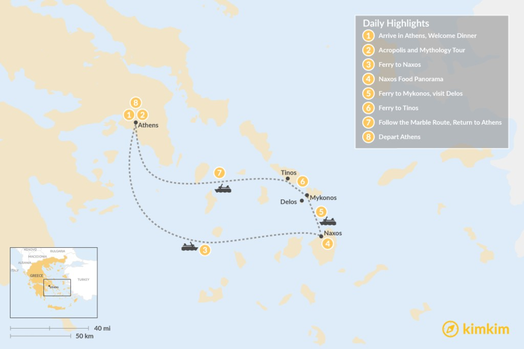 Map of Past and Present in Athens, Tinos, Mykonos & Naxos - 8 Days