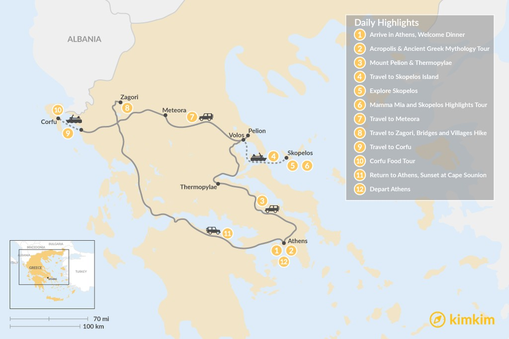 Map of Central Greece, Skopelos & Corfu Exploration - 12 Days