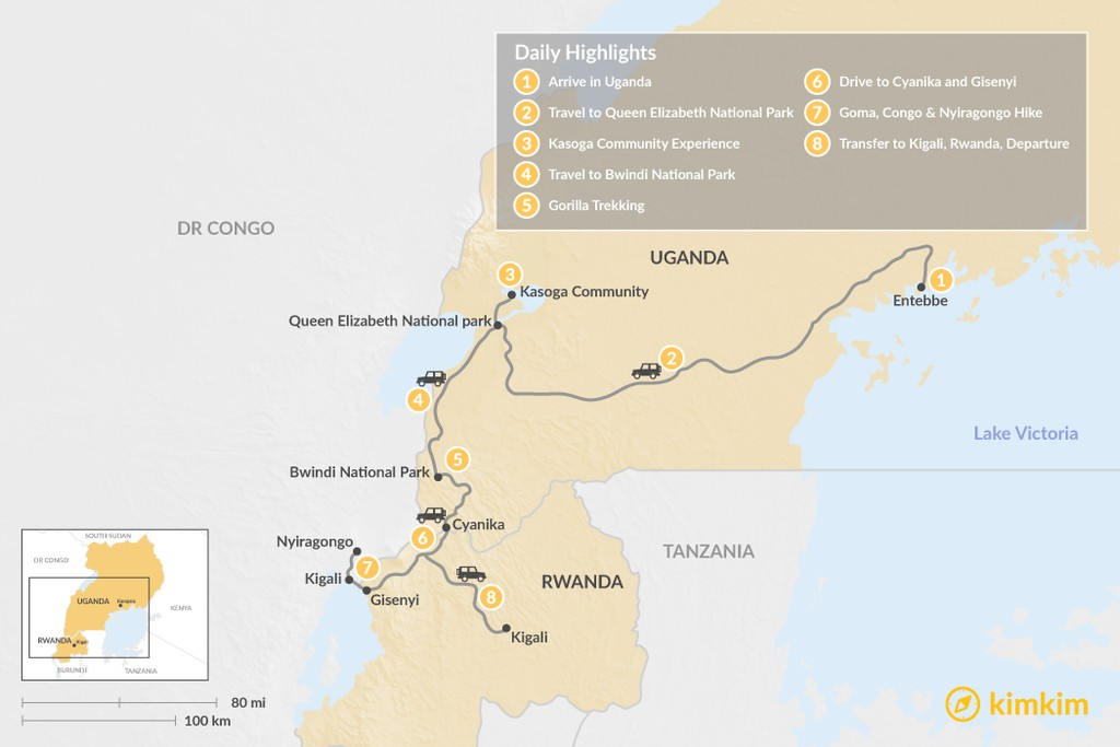Map of Gorillas in Uganda & Trekking in The Congo - 8 Days