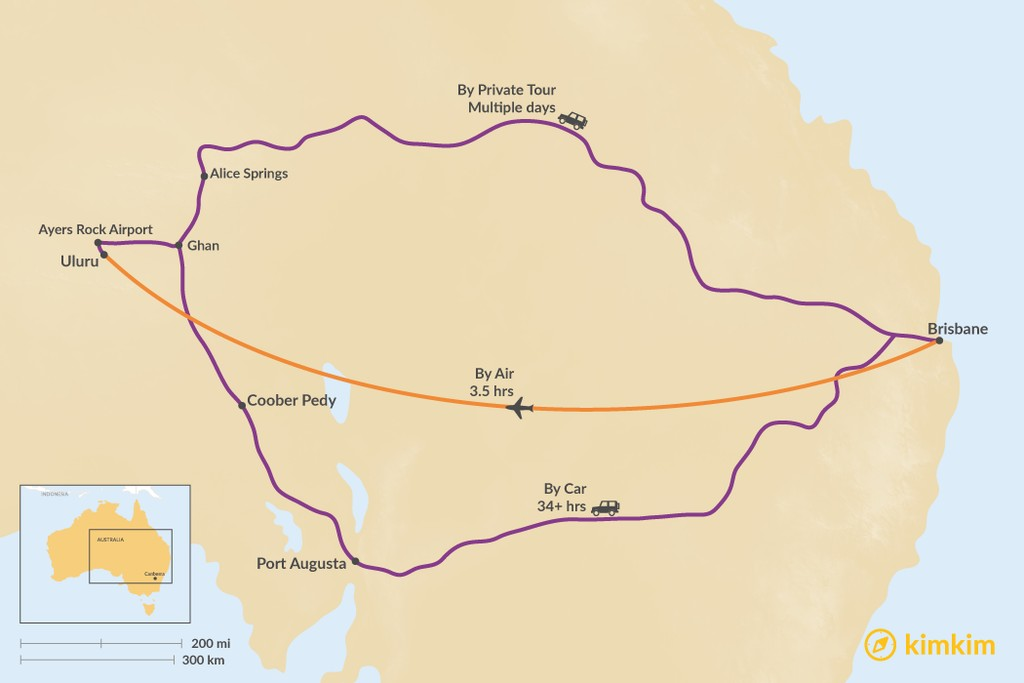 Map of How to Get from Brisbane to Uluru