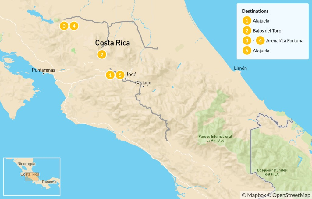 Map of Costa Rica Luxury Hot Springs and Rivers Getaway - 6 Days