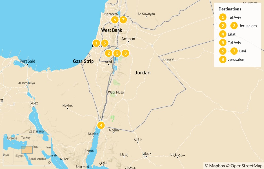 Map of History & Religion in Israel - 9 Days