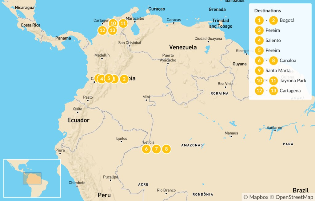 Map of Colombia Andes, Amazon & Caribbean - 14-Day Itinerary