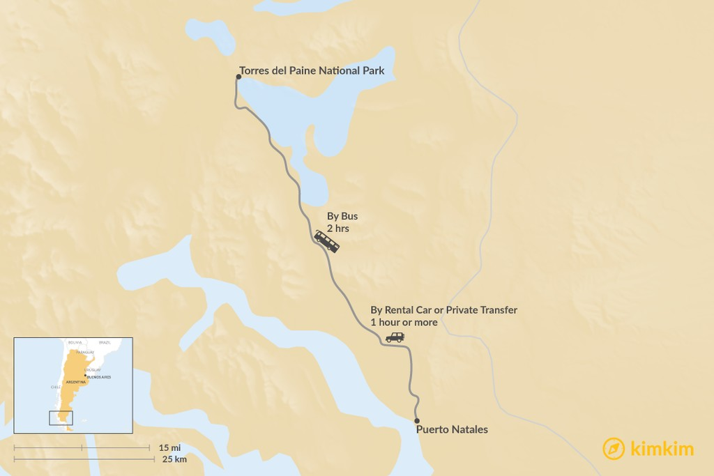 Map of How to Get from Puerto Natales to Torres del Paine