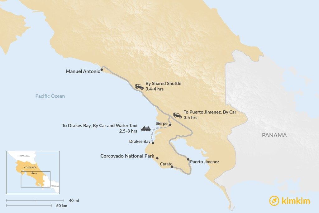 Map of How to Get from Manuel Antonio to Corcovado National Park