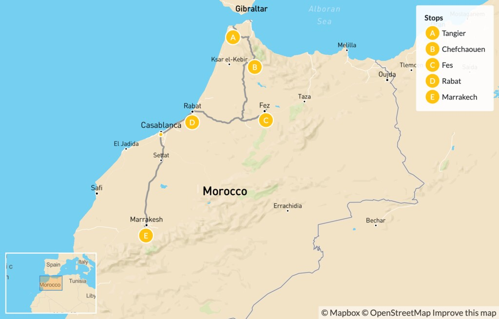 Map of Explore Northern Morocco: Tangier, Chefchaouen, Fes, Rabat, Casablanca - 7 Days