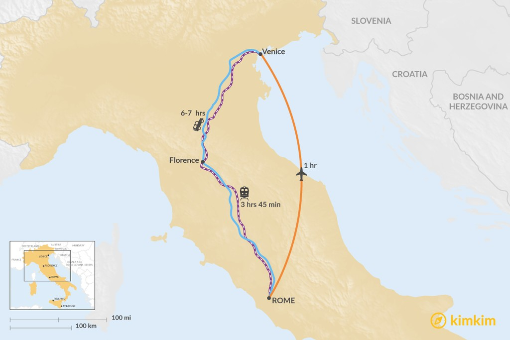 Map of How to Get from Rome to Venice