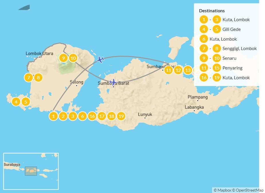 Map of Discover the Hidden Treasures of Lombok & Sumbawa - 20 Days