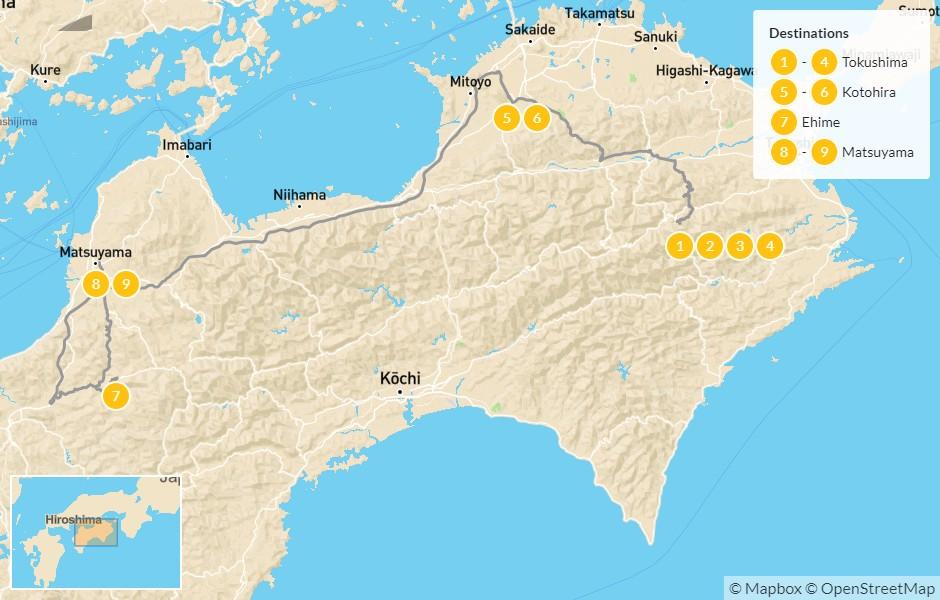 Map of Shikoku 88 Temple Pilgrimage Self-Guided Walking Tour - 10 Days