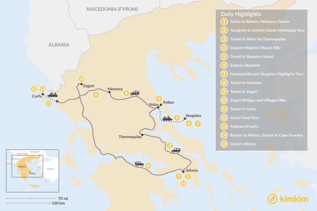 Map of Central Greece, Skopelos & Corfu Exploration - 15 Days