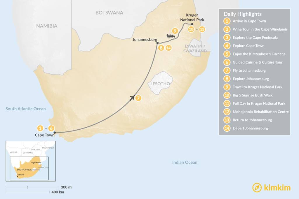 Map of Classic South Africa: Cape Town, Johannesburg, & Kruger Safari - 14 Days