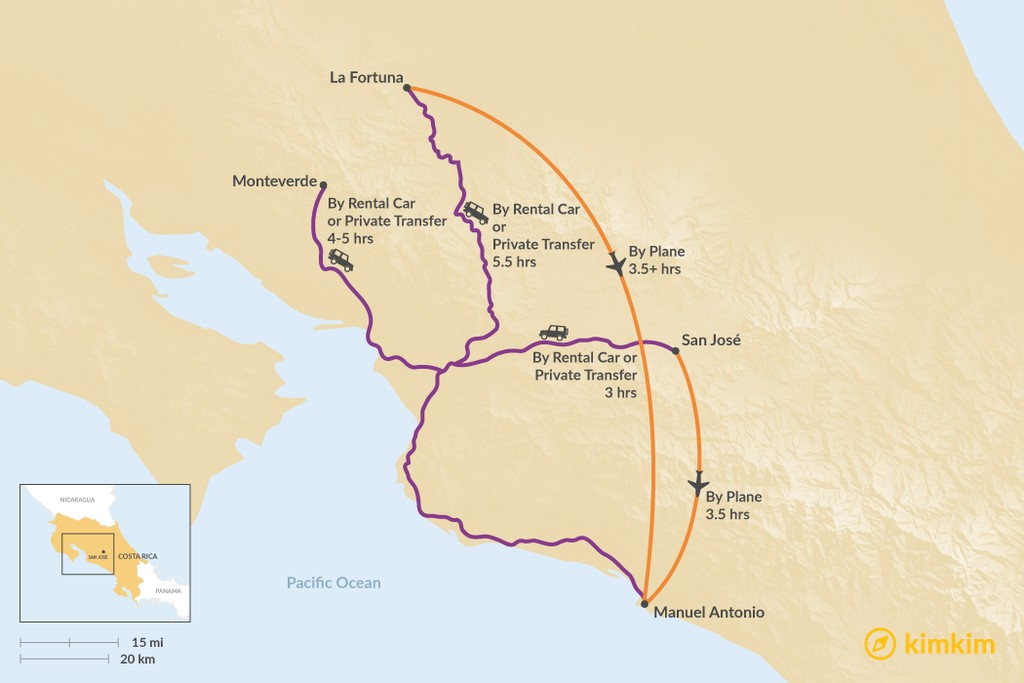Map of How to Get to Manuel Antonio National Park