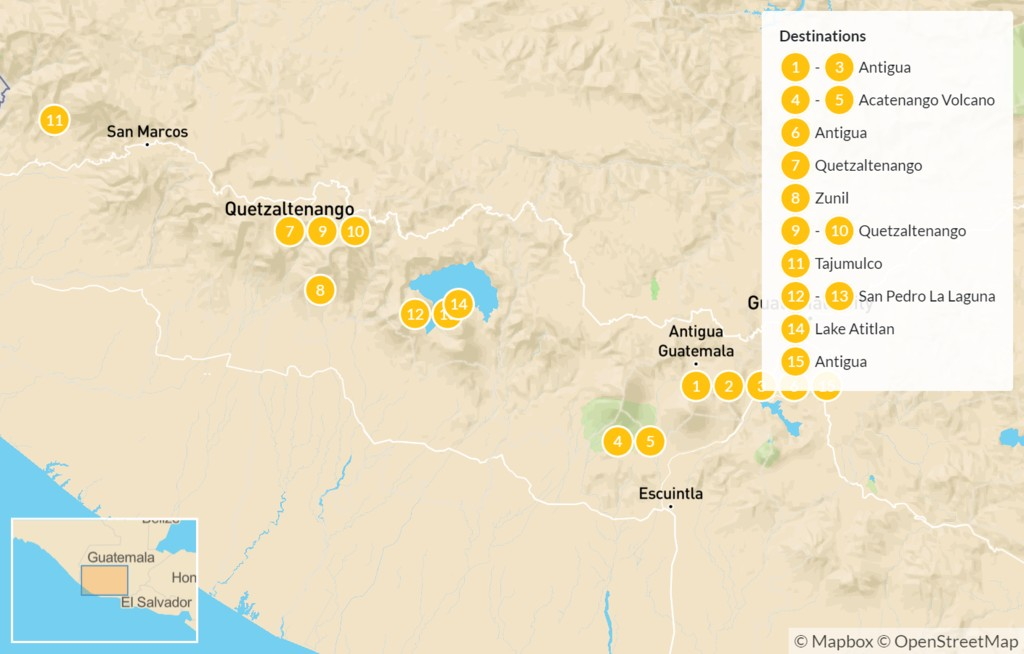 Map of Guatemalan Volcano Trek: Pacaya, Fuego, Zunil, Tajumulco, & More - 16 Days