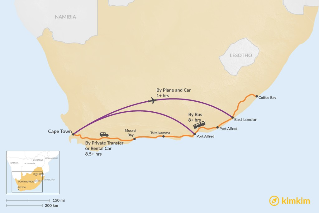 Map of How to Get from Cape Town to Eastern Cape