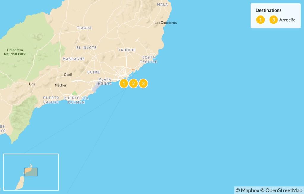Map of Long Weekend Hiking in Lanzarote - 4 Days