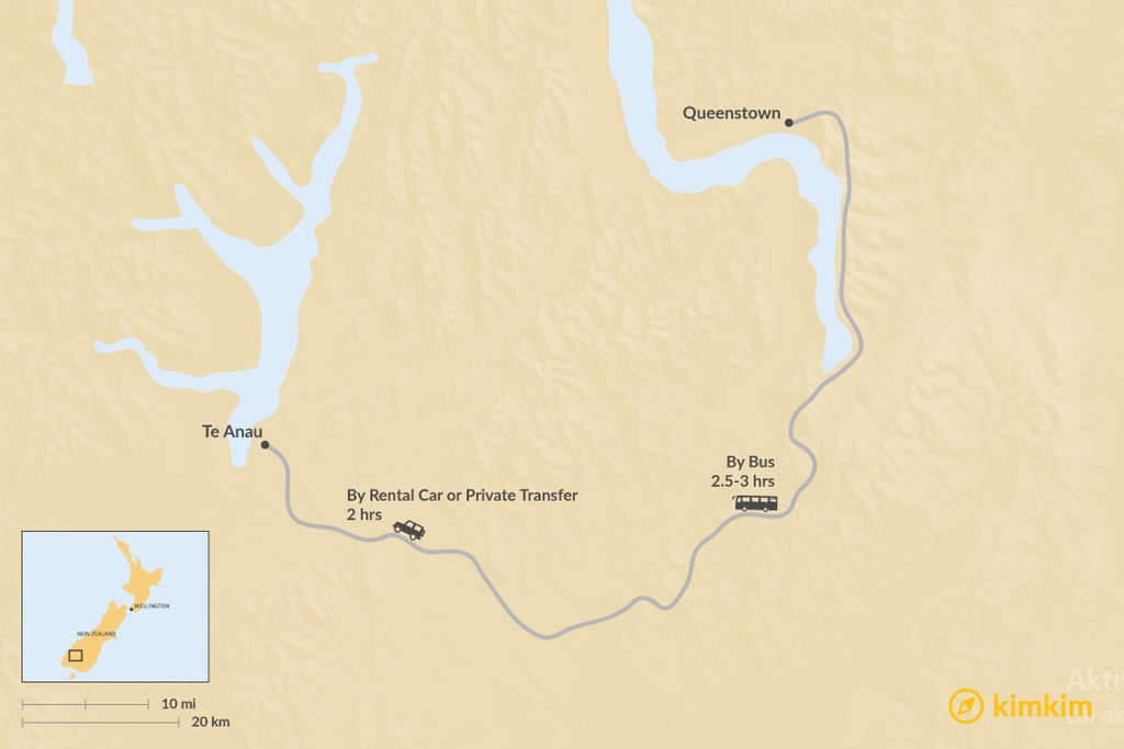 Map of How to Get from Queenstown to Te Anau