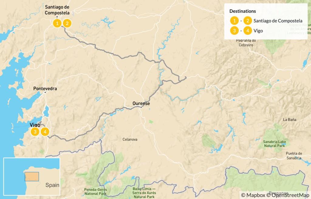 Map of Ultimate Tour of Galicia: Santiago de Compostela, Lugo, & Vigo - 5 Days