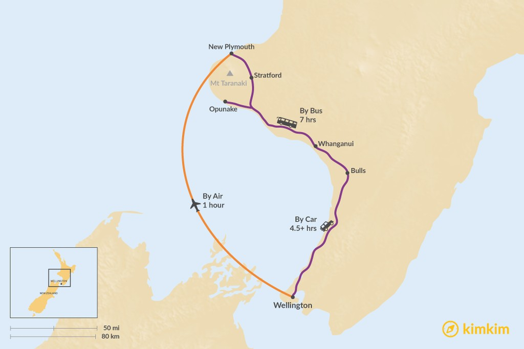 Map of How to Get from Wellington to Taranaki