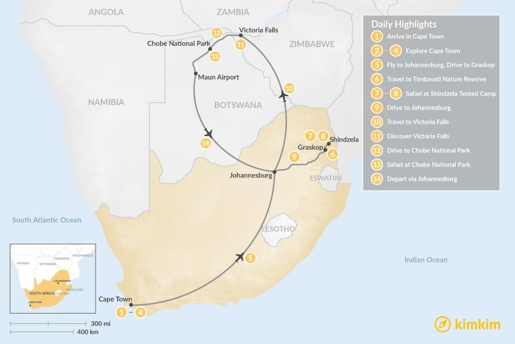 Map of South Africa, Zimbabwe, & Botswana - 14 Days