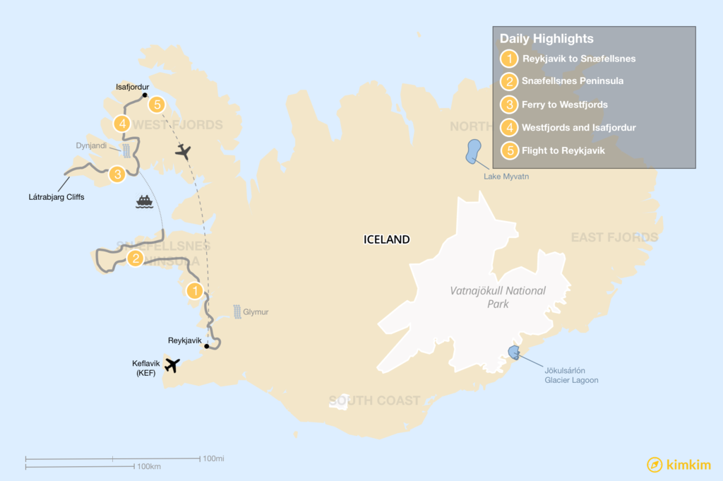 Map of Iceland West Coast Road Trip - 6 Days