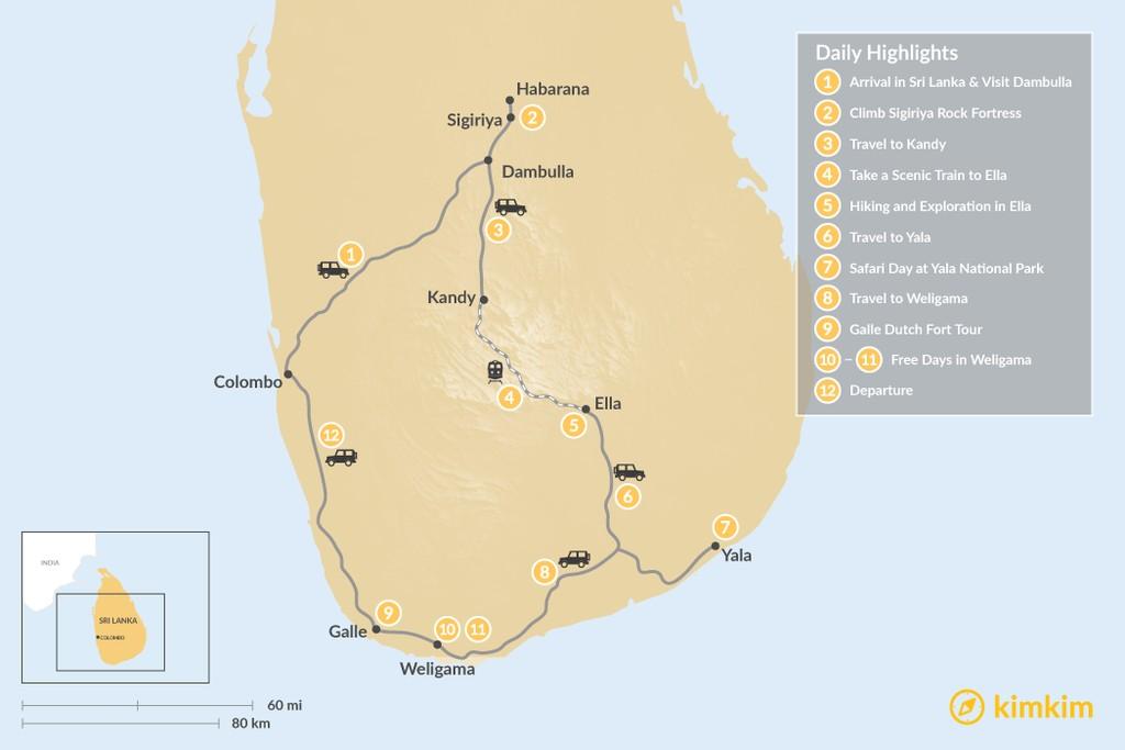 Map of Discover Sri Lanka: Dambulla, Kandy, Ella, Yala, & Weligama - 12 Days