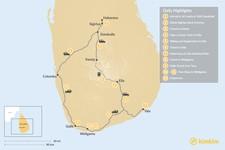 Map thumbnail of Discover Sri Lanka: Dambulla, Kandy, Ella, Yala, & Weligama - 12 Days
