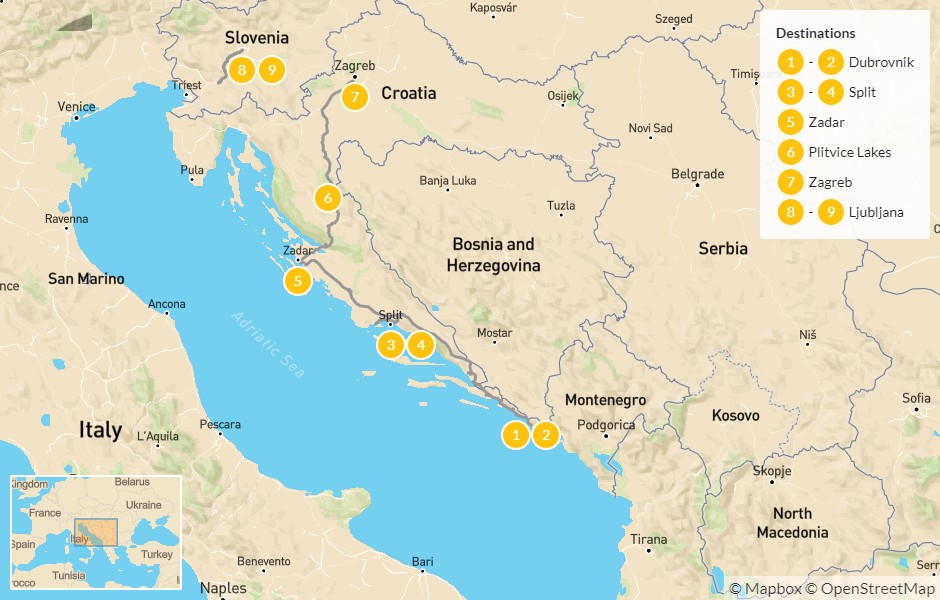 Map of Best of Croatia & Slovenia: Dubrovnik to Ljubljana - 10 Days