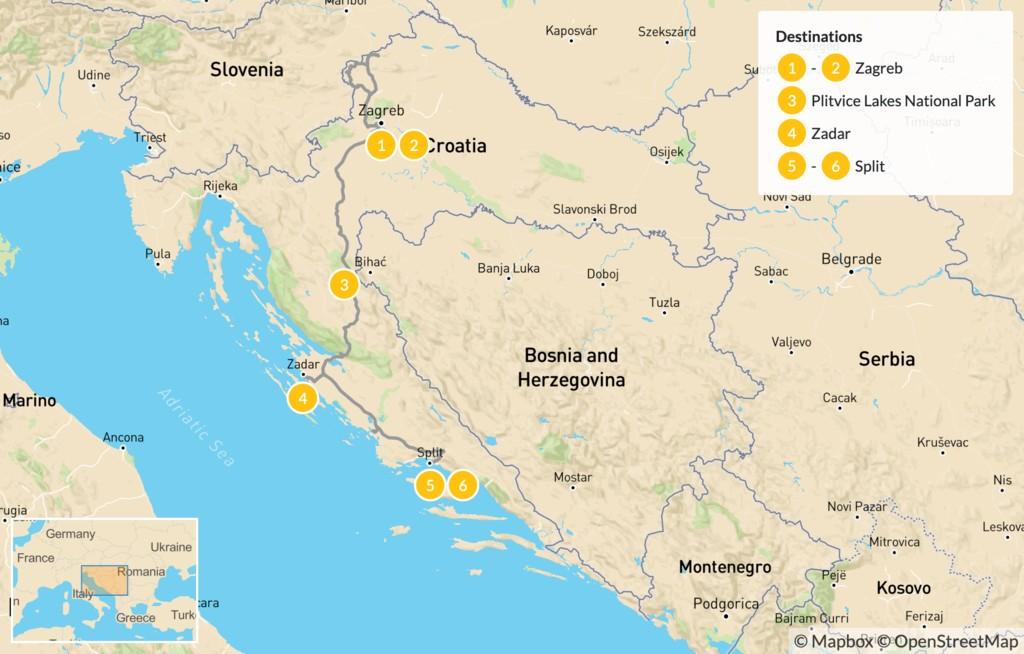 Map of Northern Dalmatia: Zagreb, Plitvice, Zadar, & Split - 7 Days