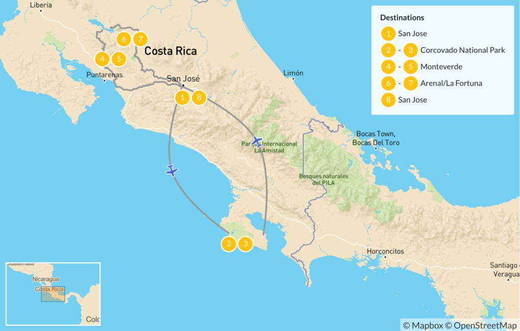 Map of Active Wildlife Adventure in Costa Rica - 9 days
