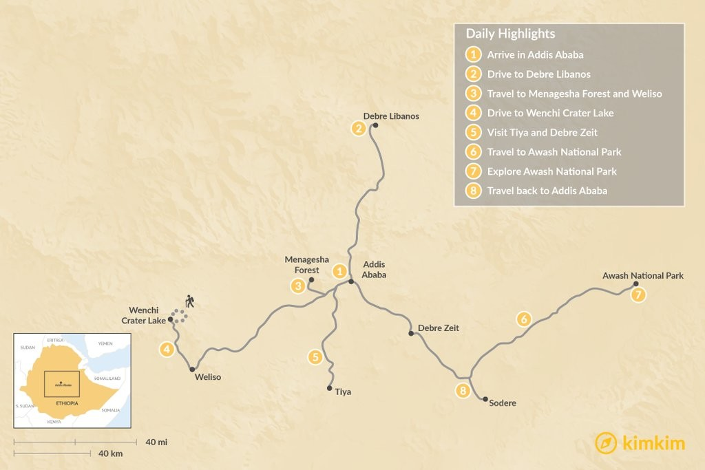 Map of Short Trips In and Around Addis Ababa - 8 Days